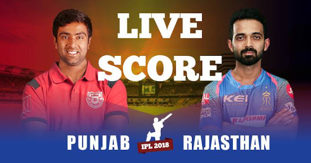 IPL 2018 Match 40 RR vs KXIP Live Score and Full Scorecard