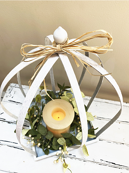 lantern with raffia bow