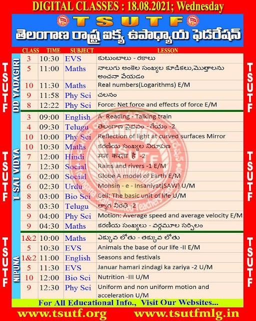 19-08-2021 TS SCERT Digital Classes Worksheets and Schedule Download