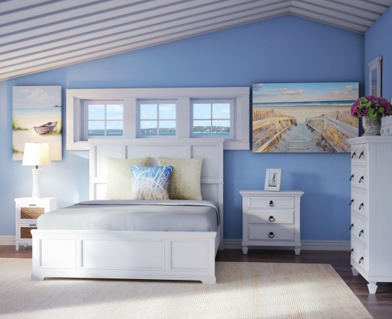 Beach Bedroom with White Chests and Nightstand