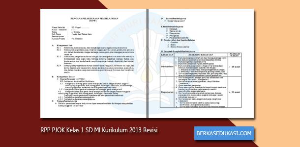 RPP PJOK Kelas 1 SD MI Kurikulum 2013 Revisi 2019-2020