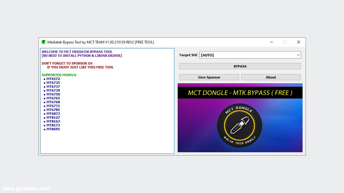 MediaTek Bypass Tool V1.00.210129 REV2 By MCT Team
