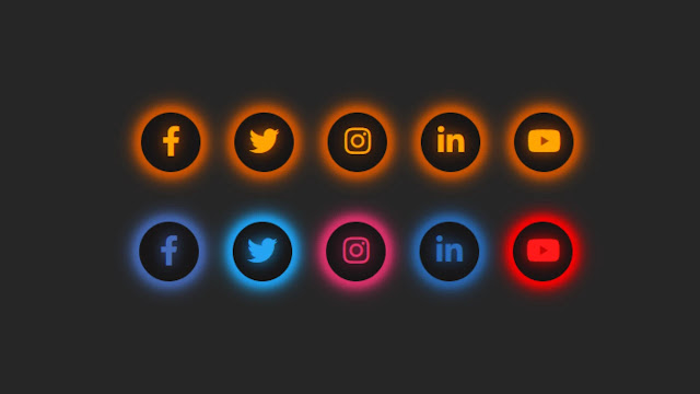 Glowing Effect on Social Media Icons