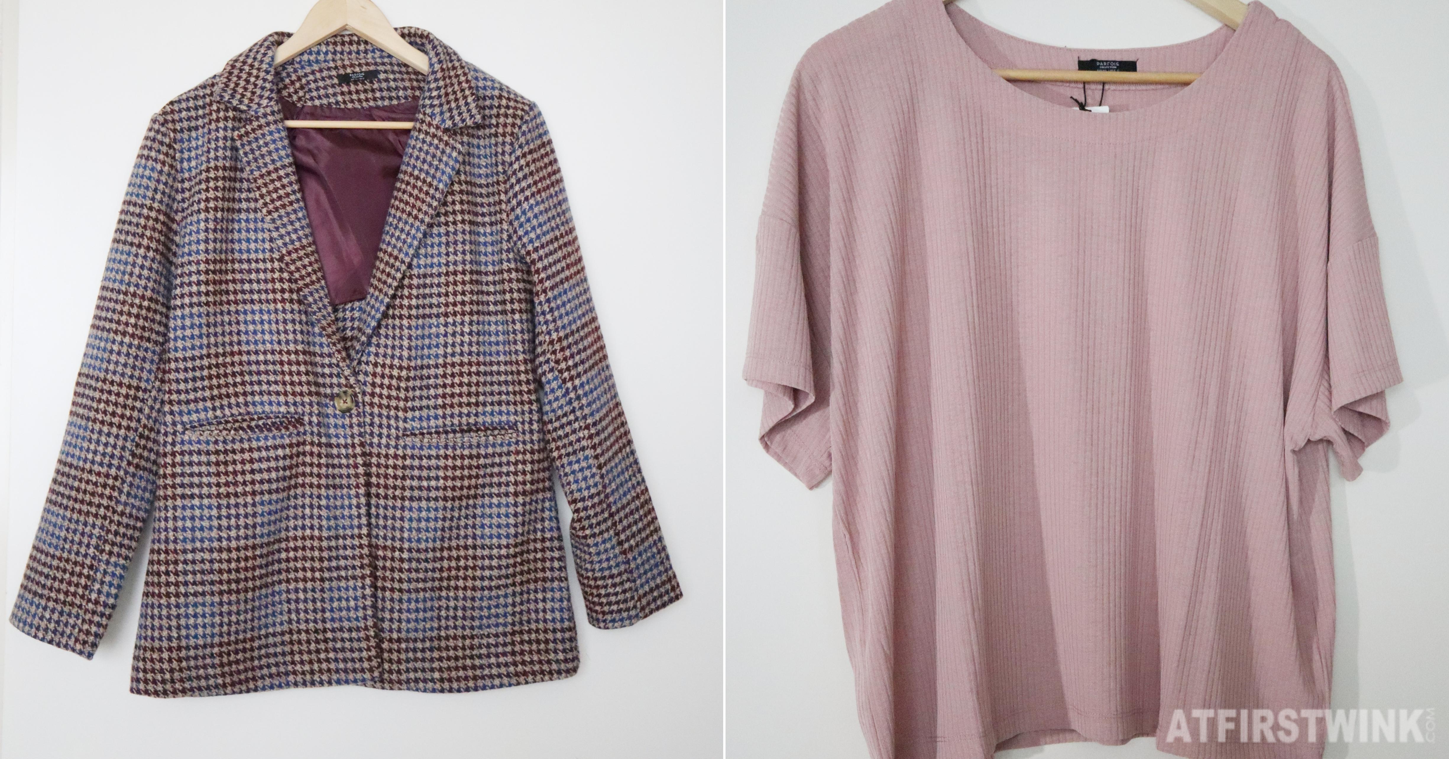 Parfois checkered blazer and pink t-shirt
