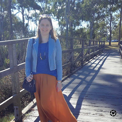 awayfromblue Instagram | denim jacket cobalt knit orange ochre maxi skirt park mum style outfit winter