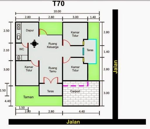 Denah  Rumah  Minimalis 8x15 Type  70  Desain Rumah  Minimalis