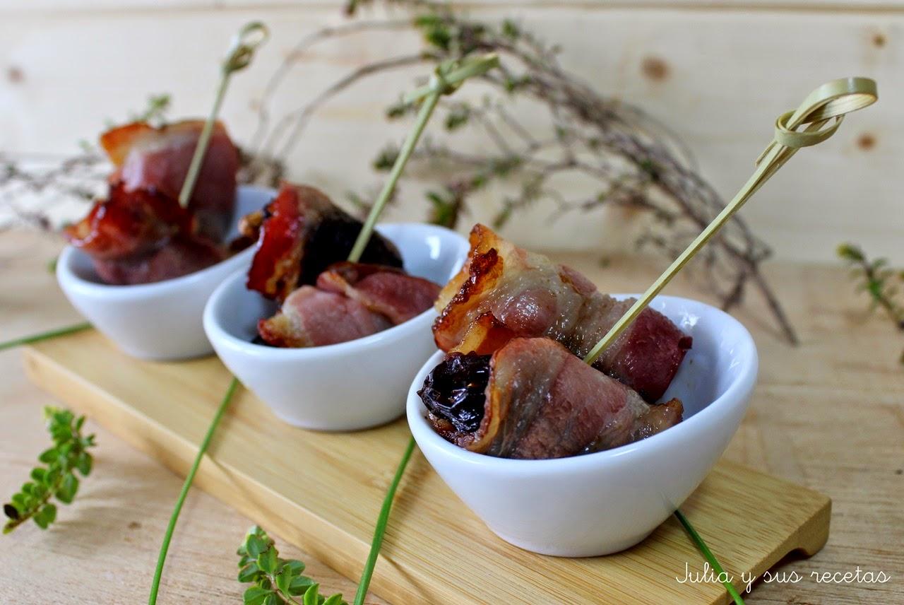 Ciruelas con bacon. Julia y sus recetas