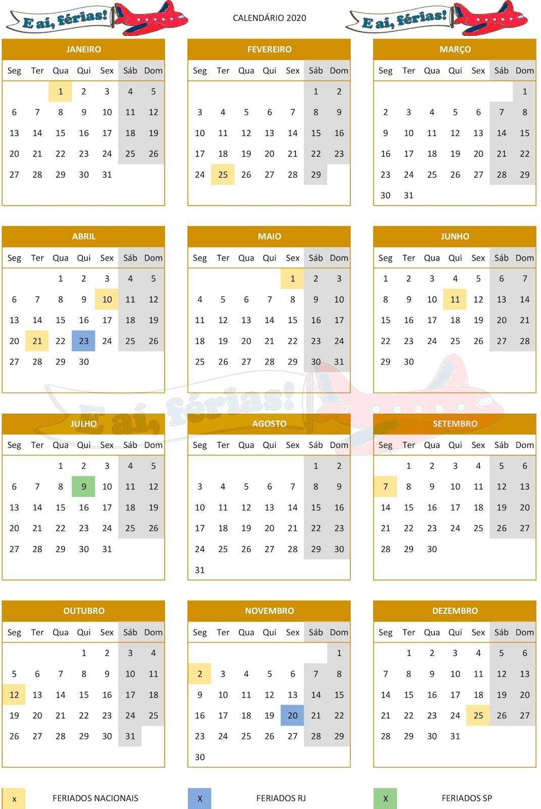 Calendario 2020 com feriados nacionais