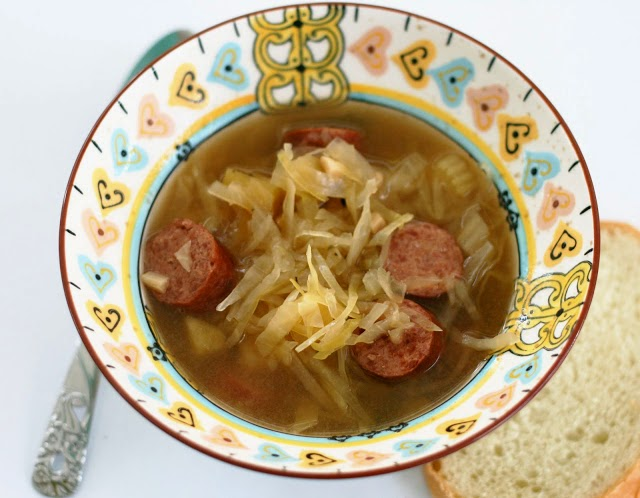Slow Cooker Sauerkraut Soup with Kielbasa