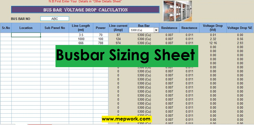 Download Busbar Sizing Calculation Excel Sheet xls