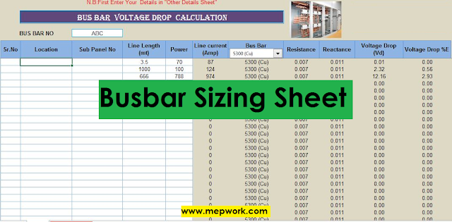 Busbar Sizing and Voltage Drop Calculation Excel Sheet