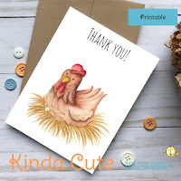 Thank you printable card with a hen