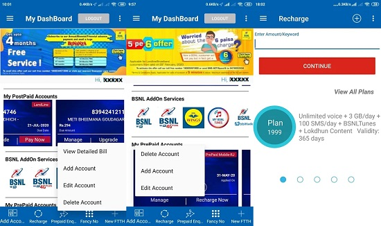 BSNL upgraded 'My BSNL App' : Recharge, bill payment, fancy number selection and Bharat Fiber booking and many more