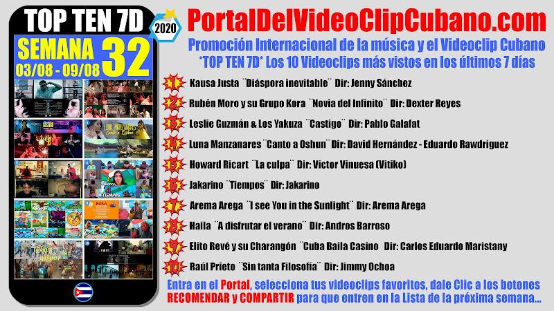 Artistas ganadores del * TOP TEN 7D * con los 10 Videoclips más vistos en la semana 32 (03/08 a 09/08 de 2020) en el Portal Del Vídeo Clip Cubano