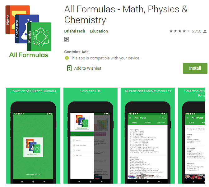 all formulas apps for students