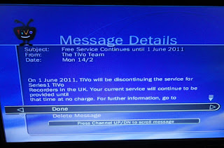 UK TiVo displaying the long-feared message announcing that service would stop on 1 June