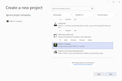 Visual Studio Create a new project with CUDA 11.1 Runtime template screenshot