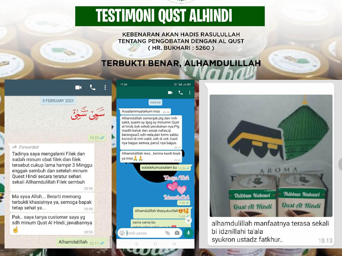 testimoni Qust Alhindi Thibbun Nabawi
