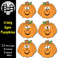 Crazy Eyes Pumpkins Clip Art