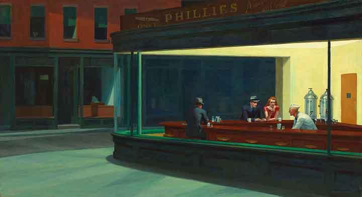 Cuadro de Edward Hopper que representa un diner por la noche en el que sólo quedan algunos clientes