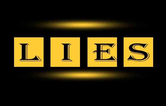 An inscription of 'lies' in black colour with black and yellow background