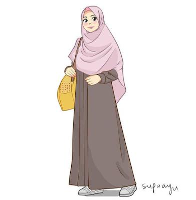 Gambar Kartun Muslimah Cantik & Comel Berhijab