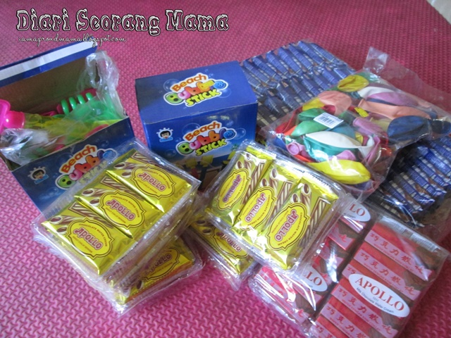 Persediaan Goodies Bag Sambutan Hari Lahir Aisy
