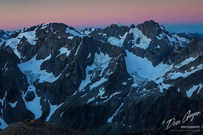 View of North Cascades at dawn from Sahale High Camp, North Cascades National Park, Washington, USA.