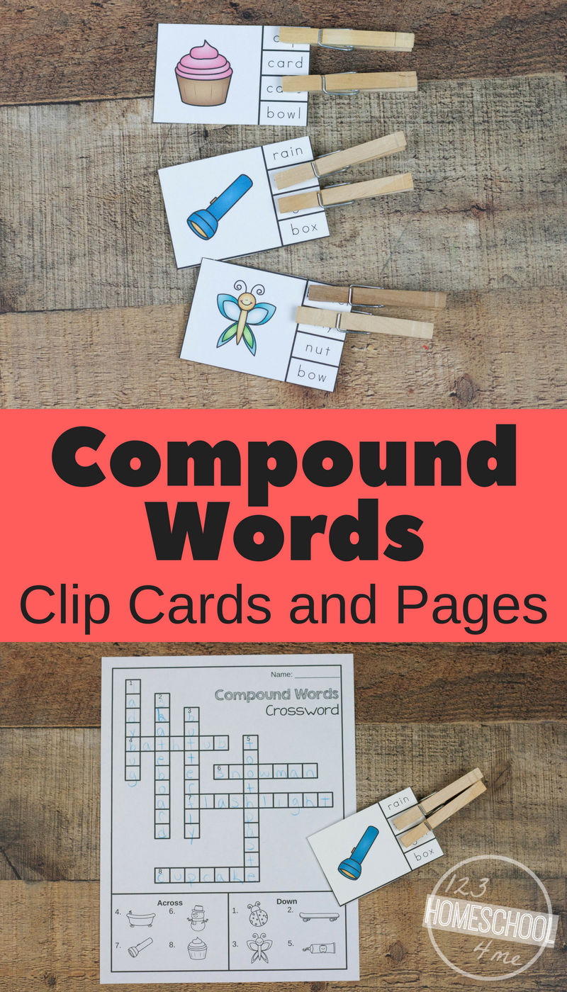 Free Compound Words Clip Cards Worksheets