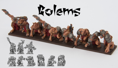 Unit consists of nine random golems. Lead-free pewter, supplied unpainted and without bases.