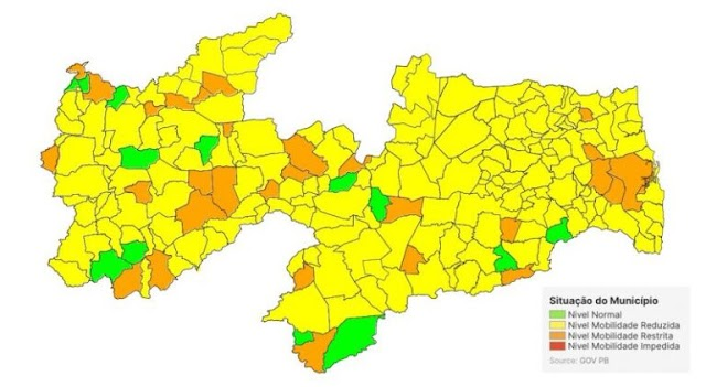 Covid-19: em nova análise, PB possui 81% das cidades na bandeira Amarela e não recomenda volta às aulas