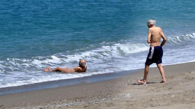 ظهور مسن عاريا على احد شواطئ انطاليا التركية ومن ثم يختفي فجأة.