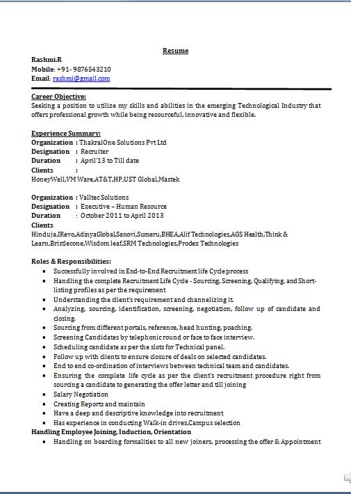 Professional profile resume