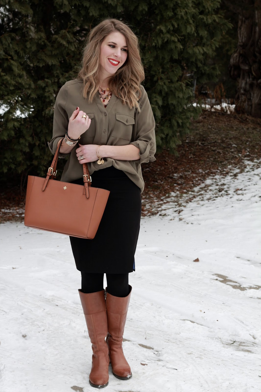 olive button up top, black pencil skirt, cognac riding boots