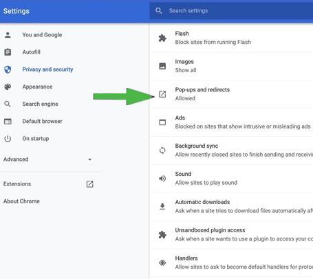 النوافذ المنبثقة وإعادة التوجيه في Chrome