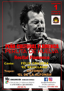 Cartel del Recital Flamenco de la Peña Cultural Flamenca: Perlita de Huelva
