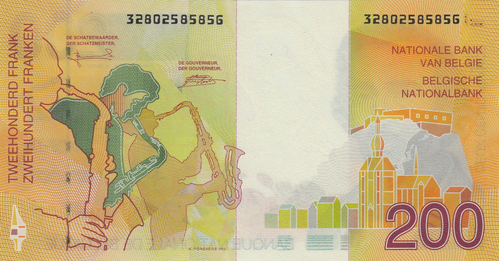 Belgium Money Currency 200 Belgian Francs banknote 1995 Saxophone players, Dinant with the Collegiate Church of Notre-Dame