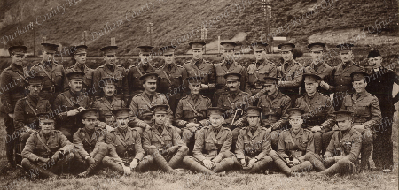 Officers of 8th Battalion, Durhal Light Infantry, Angus is top left, 'Willie Coulson' is centre back, Connie's brother Philip Kirkup is bottom right, August 1914 (D/DLI 2/8/98)