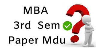 Mdu MBA 3rd Sem Previous Question Papers 2018
