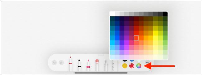 خيار لوحة الألوان في تطبيق Notes