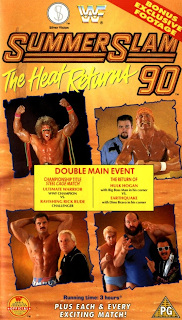 WWF / WWE - SUMMERSLAM 1990: Poster for the event featuring Rick Rude vs. Ultimate Warrior and Hulk Hogan vs. Earthquake