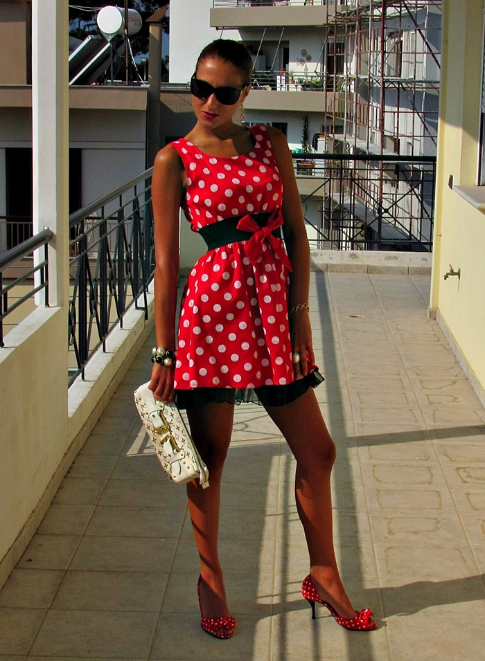 red mini dress and shoes with white polka dots