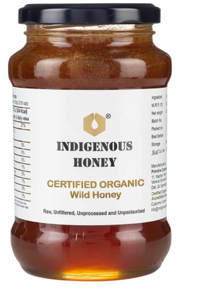 INDIGENOUS HONEY Raw Organic Honey Unprocessed Unfiltered Unpasteurized Pure Natural Original Honey - 530 Grams Glass Jar