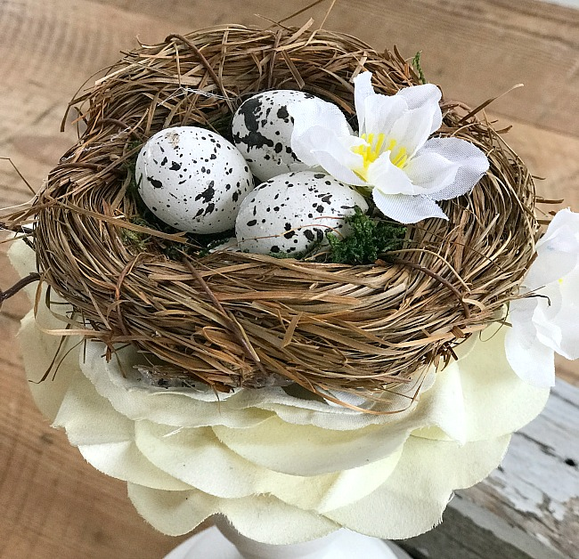 DIY Candlestick Bird's Nest Spring Decor