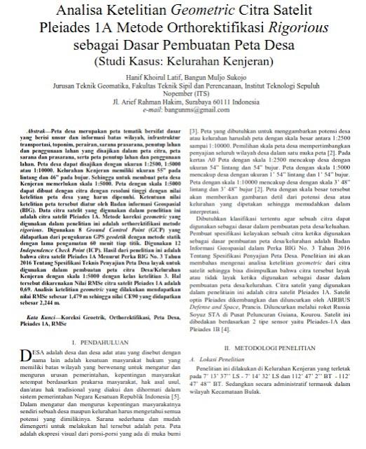 Analisa Ketelitian Geometrik Citra Satelit Pleiades 1A Metode Orthorektifikasi Rigorious [Paper]