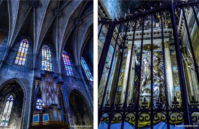 O órgão e um altar lateral da Igreja de Santa Maria del Pi, em Barcelona
