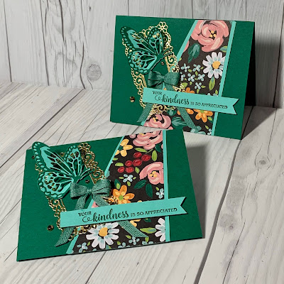 Butterfly card using Stampin' Up! Flower & Field Designer Series Paper