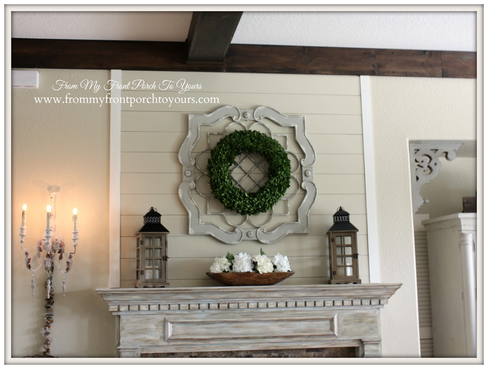 French Farmhouse fireplace mantel vignette using items from HomeGoods, HobbyLobby and Target.- From My Front Porch To Yours