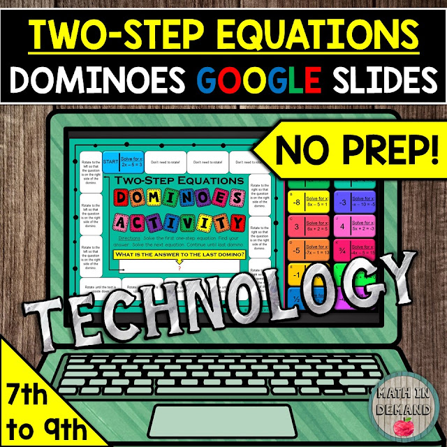 Two Step Equations Dominoes Activity Distance Learning in Google Slides
