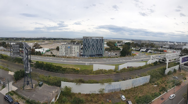View looking out over Sydney airport from 6 stories up.